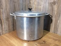 Vintage Mirro Aluminum 21 Quart Stock Pot With Lift Out Rack And Lid C5F