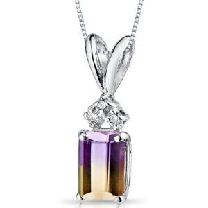 "1.00 ct Emerald Cut Ametrine Pendant Diamond Accent in 14 Karat White Gold, 18"""