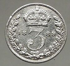 1889 UK Great Britain United Kingdom VICTORIA Threepence Silver Coin i56806
