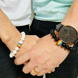 Women Men Rainbow Natural Stone Beaded Bracelet Pride LGBT GAY Couple Jewelry