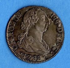 Spain 1788 2 Two Reales Silver Coin - High Grade - Gorgeous In Hand