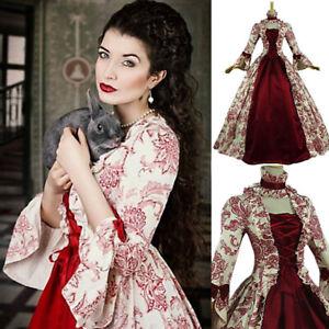 Womens Vintage Medieval Victorian Maxi Dress Halloween Party Renaissance Costume