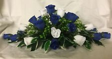 wedding flowers top table decoration royal blue & White roses gyp