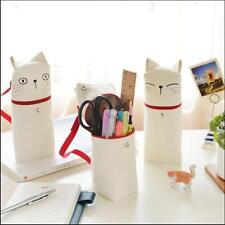 """White Cat"" 1pc Pencil Bag Canvas Zip Around Big Pocket Cute Stationery Case"
