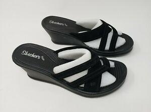 Skechers Wedge Sequin Crisscross Strap Open Toe Black Womens Size 7 Beautiful