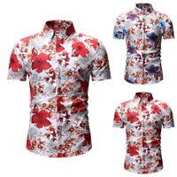 Homme Chemise À Manches Courtes Floral Imprimé Hauts Été Hawaïenne Taille M-3XL