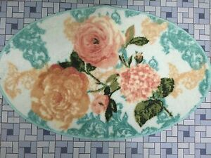 Classic Vintage Floral Country Victorian Oval Bath Mat Decor