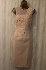 ASOS Mesh Panel Flower Lace Applique Scuba Midi Pencil Bodycon Party Dress 12 40