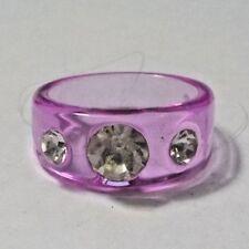 Vintage Clear Rhinestones & Pink Plastic Ring - Size 5 1/2