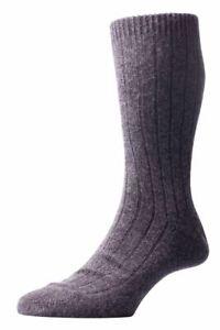 Pantherella Mens Waddington Rib Luxury Cashmere Socks - Charcoal