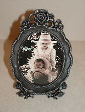 """RUSS Metal Picture Photo Frame 3.5"""" X 2.75"""" Pewter Color ROSES #14535  NEW"""