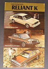 1982 Plymouth Reliant K Postcard Sales Brochure Nice Original 82