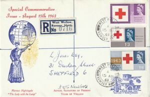15 AUGUST 1963 RED CROSS CENTENARY SIGNED FIRST DAY COVER WEST WELLOW CDS CANCEL