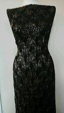 """Shiny Gold on Black Jersey Lycra Stretch Dance Fabric Material Textile 60""""Width"""