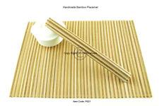 4 Bamboo Placemats Handmade Handmade Table Mats Tableware, Brown - Cream P021
