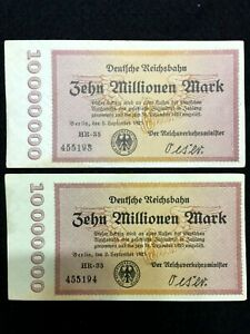 Authentic Germany 2 10000000 Mark 1923 Bills - Uncirculated -Consecutive Numbers