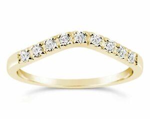 14K Yellow Gold Simulated Diamond Wedding band Ring Curved 0.29 Ct F VVS1 Guard