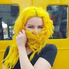 """24"""" Yellow Long Wave Synthetic Hair Lace Front Wig For Women Cosplay 150%Density"""