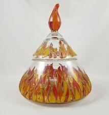 Dekorative Dekeldose Glas Feuer Dekor Tiffany Art Handarbeit R10RA