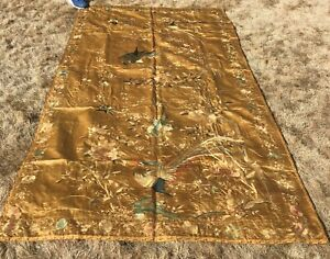 Antique Chinese Silk Embroidery Panel 104 x 56 inches On gold silk background