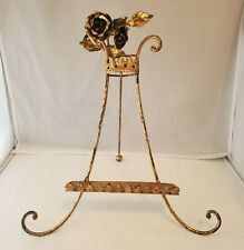 Vtg Gilt Gold Florentine Italy Metal Rose Toleware Folding Display Stand Easel