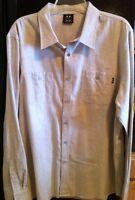 Oakley Shirt Men's XL Long Sleeve Solid Beige Button-Front Cotton Blend