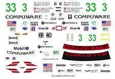 #3 or 33 Ron Fellows 2007 Compuware Corvette 1/25th - 1/24th Scale Decals