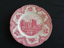 "Vintage Old Britain Castles 9 1/2"" Dinner Plate Red Transferware Johnson Bros"
