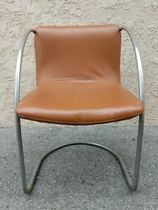 Tubular Chromed Steel Lens Chairs by Giovanni Offredi Saporiti 1960s Set of 4
