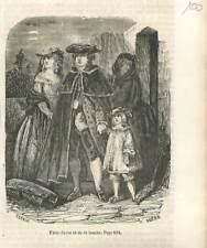 Fuite de la Famille Roi Louis XVI & Marie-Antoinette & du Dauphin GRAVURE 1851