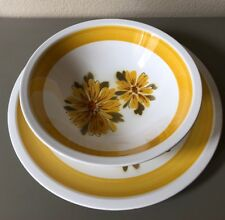 Mikasa Cera Stone Daybreak Floral Serving Bowl And Plate