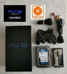 Sony PlayStation 2 Ps2 Noire Avec HDD 500 GB Et FHDB Et 125 Jeux