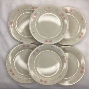 6 Corelle Blossoms In Lace 7 1/4'' Bread Butter Dessert Salad Plates Pink Rose