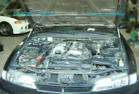 Hood Shock Gas Lift Strut Silver Carbon Damper For Nissan 240SX S14 Silvia 95-98
