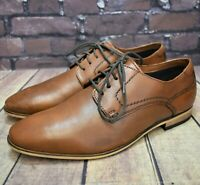 Mens Pier One Brown Leather Lace Up Formal Shoes Size UK 7 EUR 41 RRP - £59