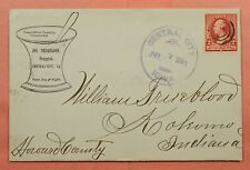 1891 TRUEBLOOD DRUGGIST ADVERTISING CENTRAL CITY IA CANCEL