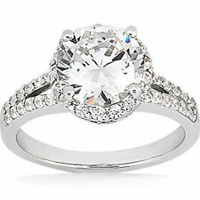 2.01 ct center Round Natural DIAMOND Halo Engagement Wedding 14k White Gold Ring