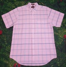 Arnold Palmer Large Short Sleeve Button Up. Pink Sky Blue With Thin Stripes.