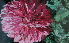 Rita Thornton Signed Original Watercolor Painting large pink flower dahlia, OBO!