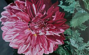 Rita Thornton Signed Original Watercolor Painting large pink flower dahlia, OBO!