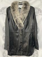 RARE Chadwick's Leather Jacket Genuine Fox Fur Collar Women's Large Black White