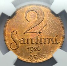 TOP ! LATVIA 2 SANTIMI 1926 COPPER COIN MS 63 RB NGC SLAB