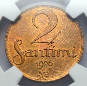 TOP ! LATVIA 2 SANTIMI 1926 COPPER COIN MS 63 RB NGC SLAB