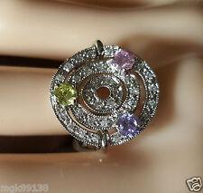New Crystal Cubic Zirconia Silver Multi Gemstone Ring Size 7