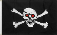Jolly Roger Pirate Flag with Red Eyes - 5' x 3'