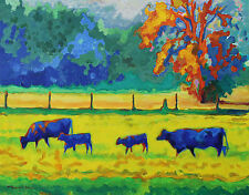 """Texas Cows and Calves at Sunset - Giclee artwork by Bertram Poole 16""""x20"""""""