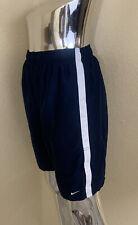 Nike Mens Navy Blue Elastic Waist Swimming Trunks Shorts With Drawstring Size M
