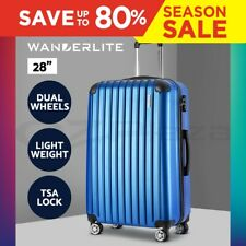 "Wanderlite 28"" Luggage Sets Suitcase Blue TSA Travel Hard Case Lightweight"