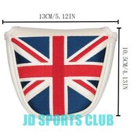 UK Flag Embroidery Magnet Mallet Cover White PU Golf Mallet Putter Head Cover