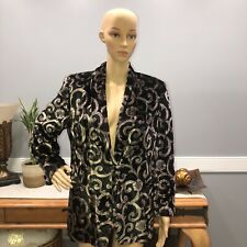 Escada Margaretha Ley Woman Suede Blazer Metallic Gold And Black Print Size 40